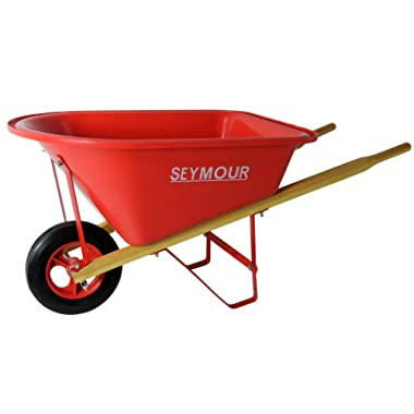 Seymour WB-JRB Children's Hight Density Poly Tray Wheelbarrow with Steel Wheel and Solid Rubber Tire, Boxed