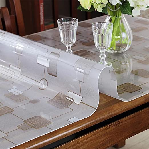 Table Protector for Dining Room Table LovePads 1.5mm Thick 40 x 60 Inches Clear Table Cover Protector Clear Plastic Tablecloth Protector Table Pad for Kitchen Wood Grain