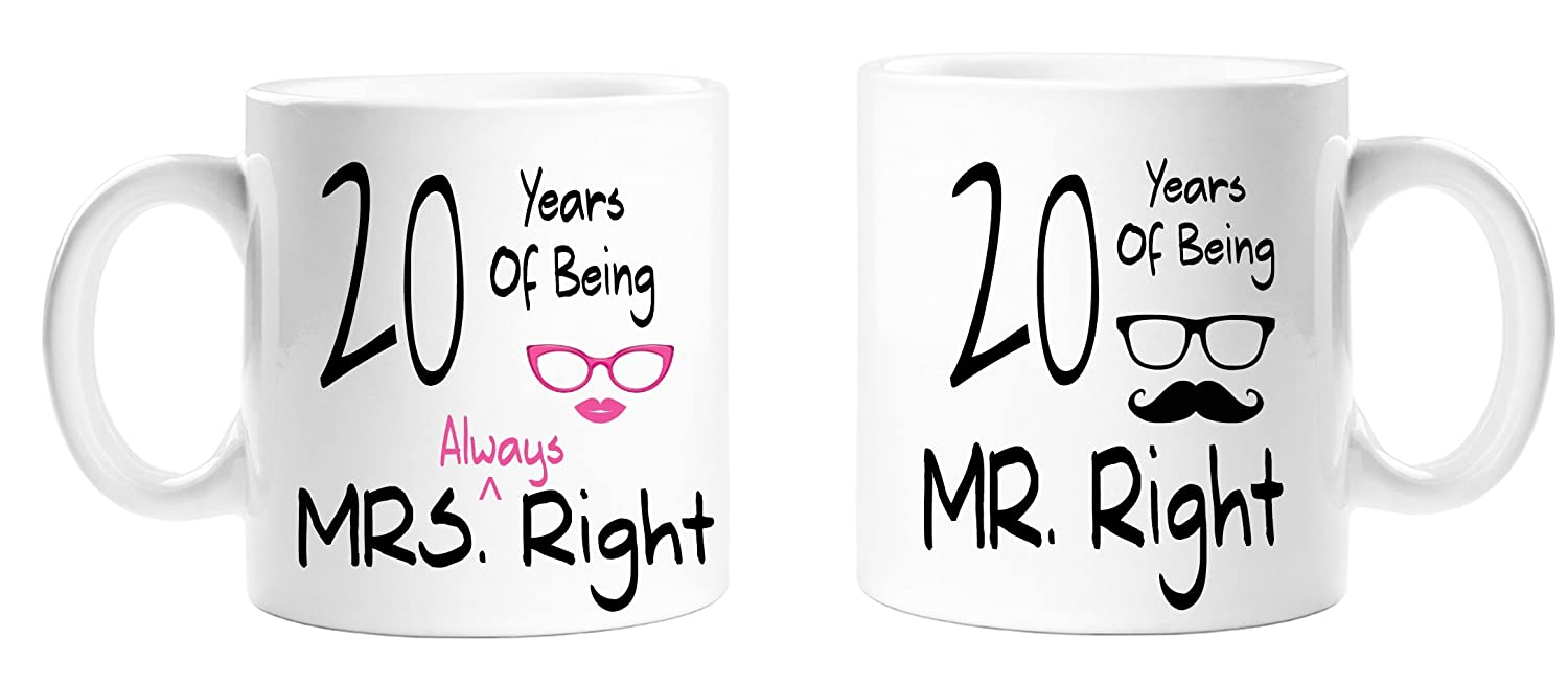 20 Years Of Being Mr Right & Mrs Always Right Novelty Anniversary Gift Mugs -20th Anniversary - Couples Mug Set - Perfect Gift for Christmas, Anniversary Top Sale