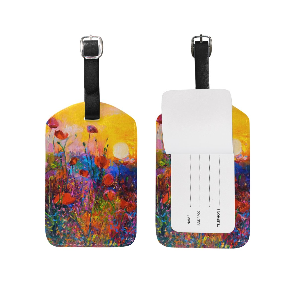 Chen Miranda Poppies Painting Travel Luggage Suitcase Label ID Tag PU for Baggage Bag 1 Piece