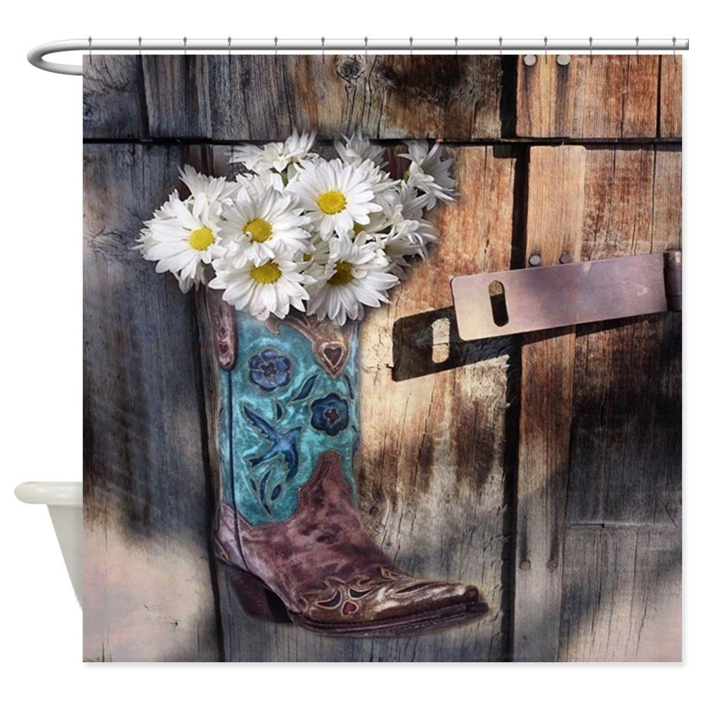 CafePress Rustic Western Country Cowboy Boots Decorative Fabric Shower Curtain (69''x70'')