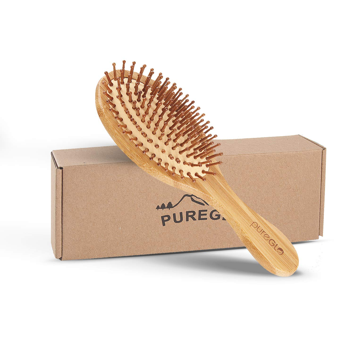 Natural Wooden Hair Brush – pureGLO Bamboo Bristle Detangling Hairbrush for Women Men and Kids - Reduce Frizz, Massage Scalp for Straight Curly Wavy Dry Wet Thick or Fine Hair