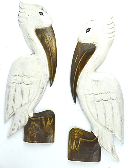 Amazon.com: 2 HAND CARVED SET OF WHITE WOOD PELICANS WALL ART HANG ...