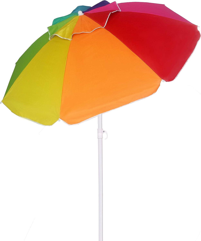 Amazon Com Ammsun Beach Umbrella 6 5ft Air Vented With Tilt Steel Pole Portable Uv 50 Protection Beach Umbrella With Carry Bag For Outdoor Patio Rainbow Garden Outdoor