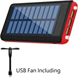 Ruipu Solar Charger 24000mAh Portable Charger Power Bank Battery Pack With Three Outputs For iPhone iPad Tablet Samsung HTC Android Phone And More
