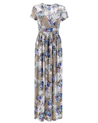 3ac13e077cb OUGES Women s V-Neck Pattern Pocket Maxi Long Dress at Amazon ...