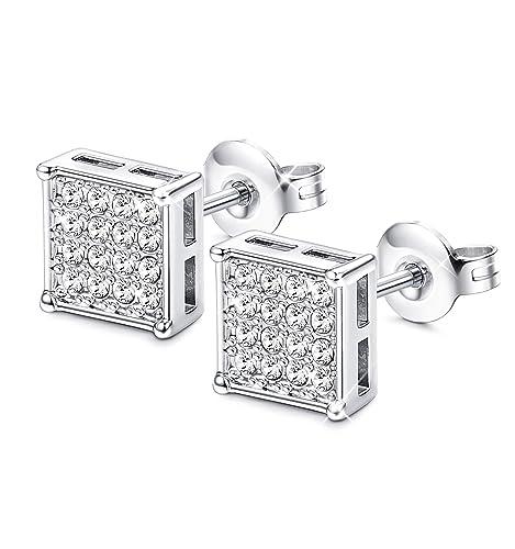 d56bd253e Sllaiss Swarovsk Earring Silver Square Shaped Stud Earrings For Sensitive  Ears Hip Hop Studs For Men