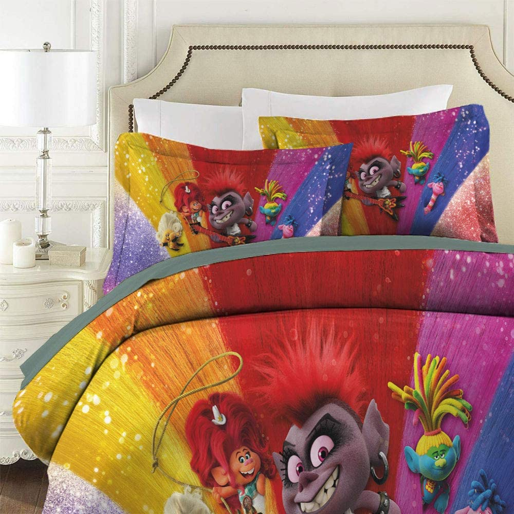 Trolls World Tour Bedding Set 3 Piece Set Duvet Cover Set Comforter Cover with and 2 Pillow Shams EU Twin Sing 53.1 x 78.7 in Barb Poster Movie Characters Soft Comfy Breathable