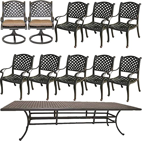 Cast Aluminum Patio Dining Set Nassau 11 Piece Outdoor Furniture