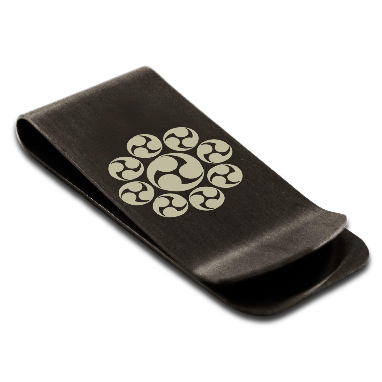 Stainless Steel Nagao Samurai Crest Engraved Money Clip Credit Card Holder