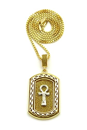 sparkled 3d egyptian ankh dog tag pendant 24 27 30 box chain
