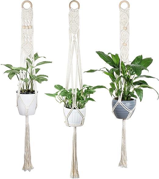 Luxbon Colgador de Planta Macrame 3 piezasTitular de la Olla Cuerda de algodón Bohemio Hecho a Mano para la decoración de la Sala de Estar del jardín Blanco: Amazon.es: Hogar