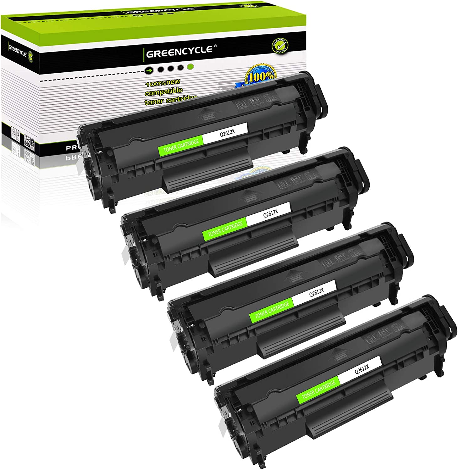 GREENCYCLE Compatible Toner Cartridge Replacement for HP 12X Q2612X Use for Laserjet 1020 1012 1022 1010 1018 1022n 3015 3030 3050 3052 3055 M1005 M1319F Printer (High Yield Black, 4-Pack)