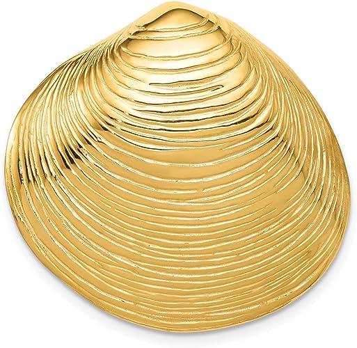 14K Yellow Gold Seashell Clamshell Shell Pendant Charm