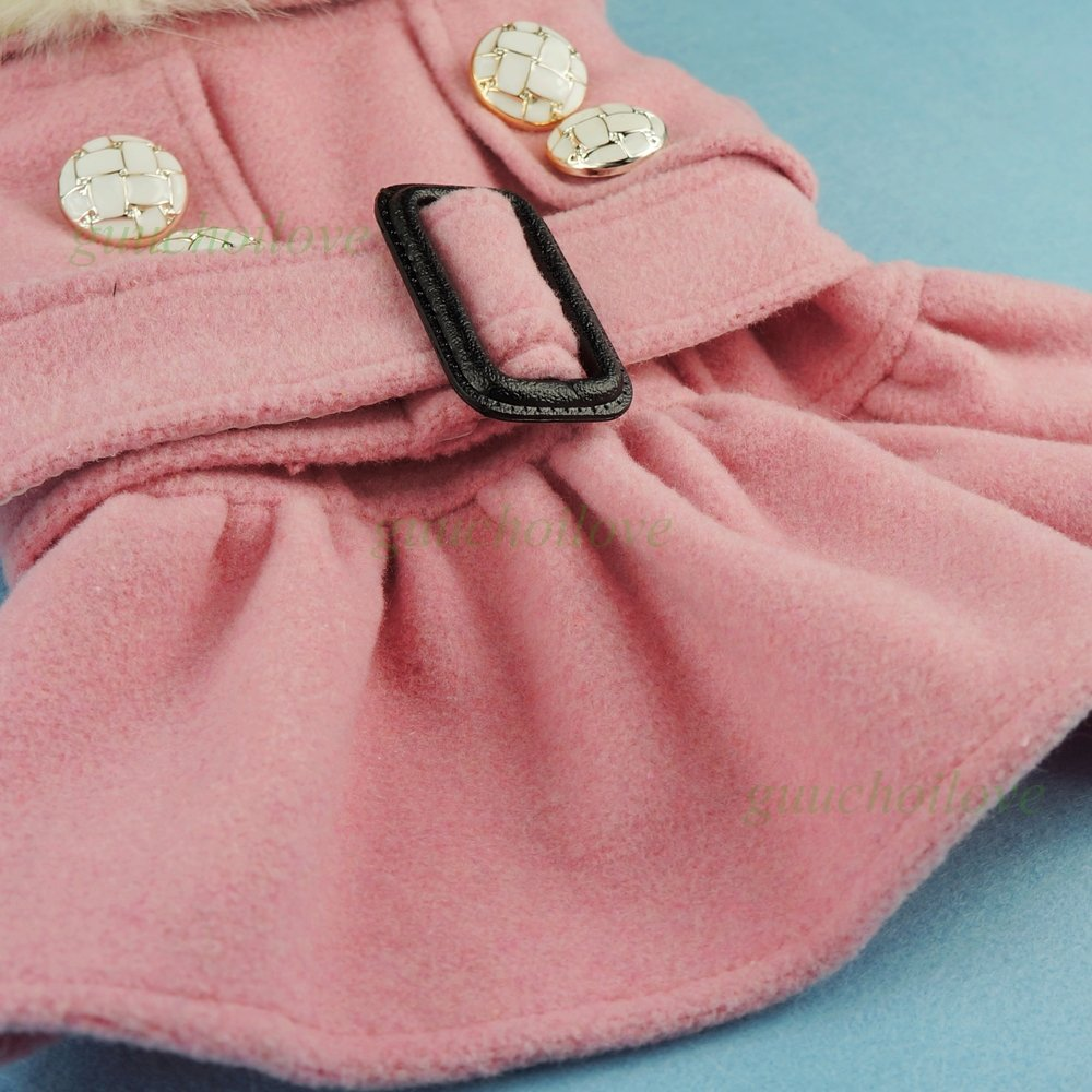 Fitwarm Noble Pink Woolen Pet Clothes for Dog Jackets Coat Dress, Small by Fitwarm (Image #3)