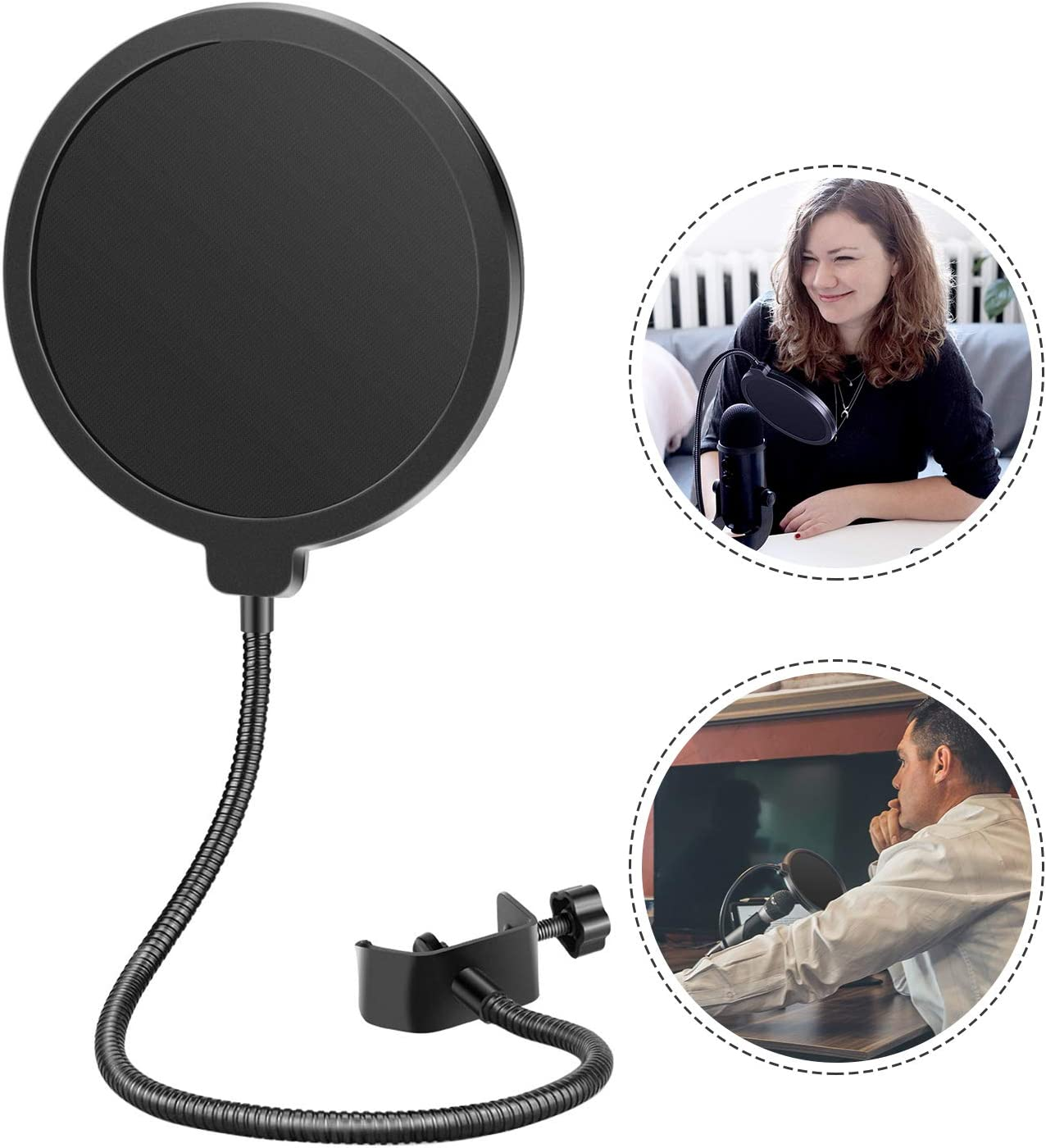 Neewer Professional Microphone Pop Filter Shield Compatible with Blue Yeti and Any Other Microphone, Dual Layered Wind Pop Screen With A Flexible 360 Degree Gooseneck Clip Stabilizing Arm
