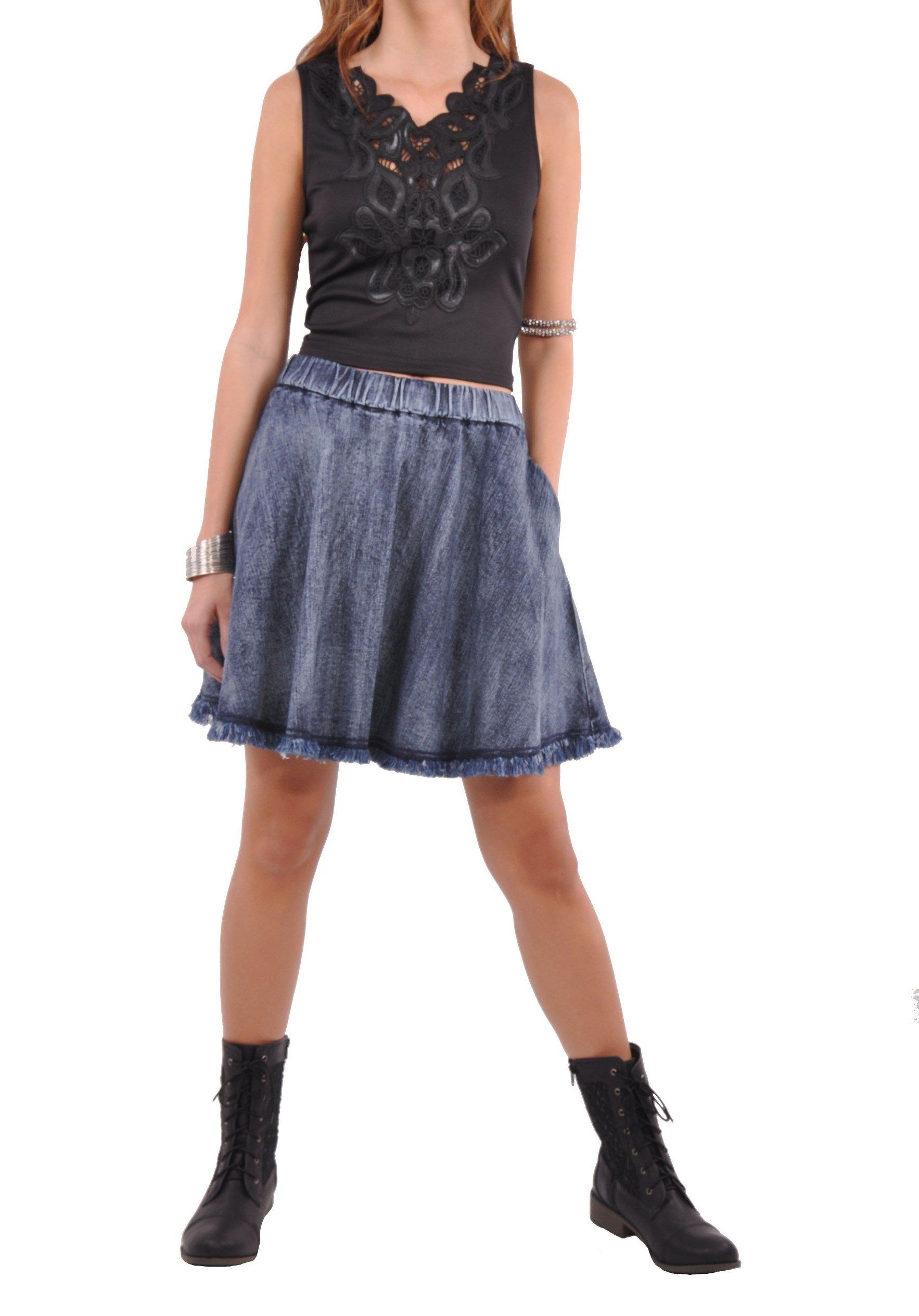 Style J Cute Flare Blue Denim Skirt-Brushed Blue-26(6)