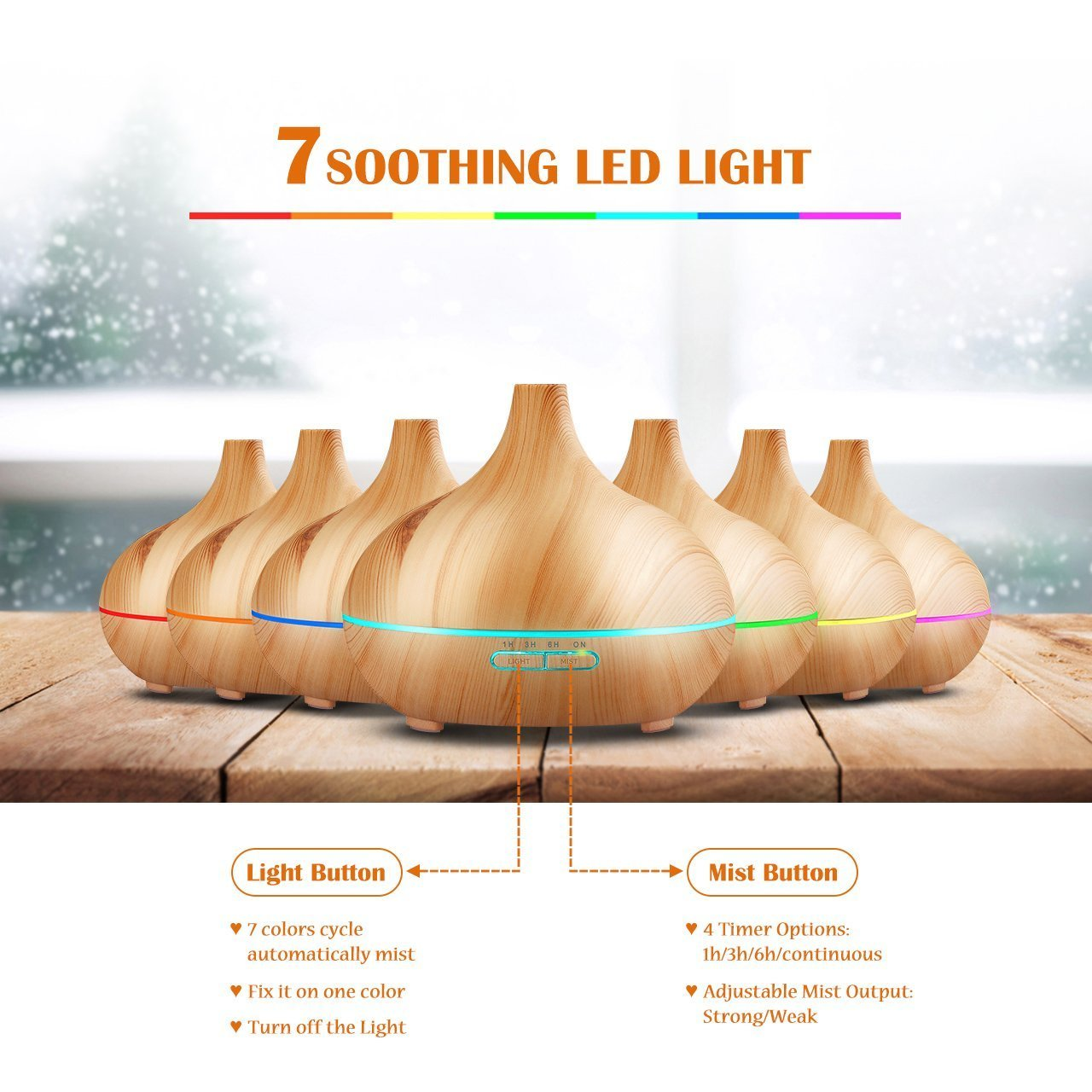 300ml cold fog humidifier ultrasonic aromatherapy essential oil disperser, wood grain 6 timing7 color LED automatic induction, no water closed function, office, home, living room, study, yoga, spa by Top-Fans (Image #3)