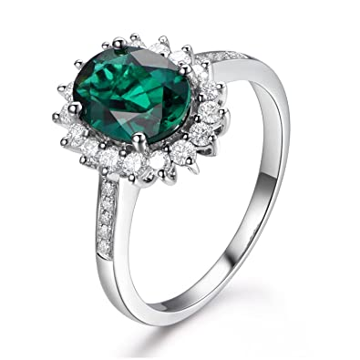 518723248 7x9mm Oval Lab-created Green Emerald Engagement Ring Solid 14K White Gold Wedding  Diamond Band, Halo | Amazon.com