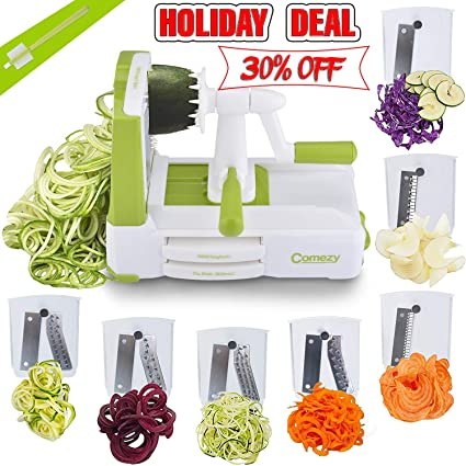Comezy 7-Blade Spiralizer Vegetable Slicers, Best Veggie Pasta Spaghetti Maker & Julienne Cutter for Low Carb/Paleo/Gluten-Free Meals, Caddy & Cleaning Brush
