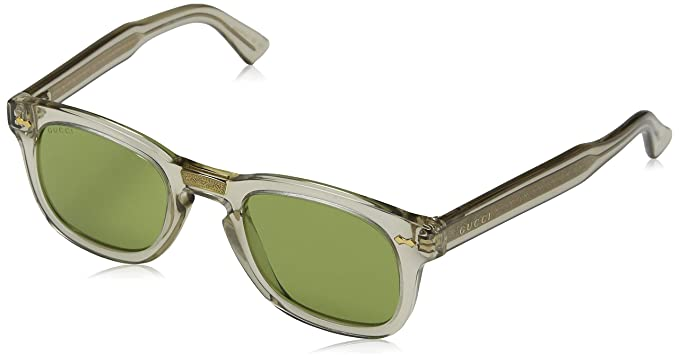 d358ac3dc8 Image Unavailable. Image not available for. Color  Gucci GG 0182S 005  Transparent Brown Plastic Square Sunglasses Green Lens