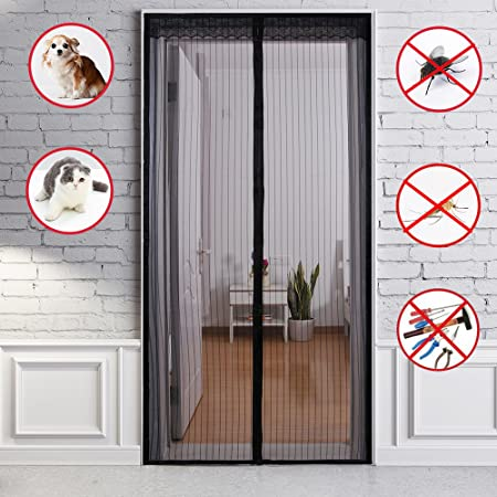 Fontic Magnetic Fly Screen Door Net Easy To Install Mosquito Door Screen  Top To