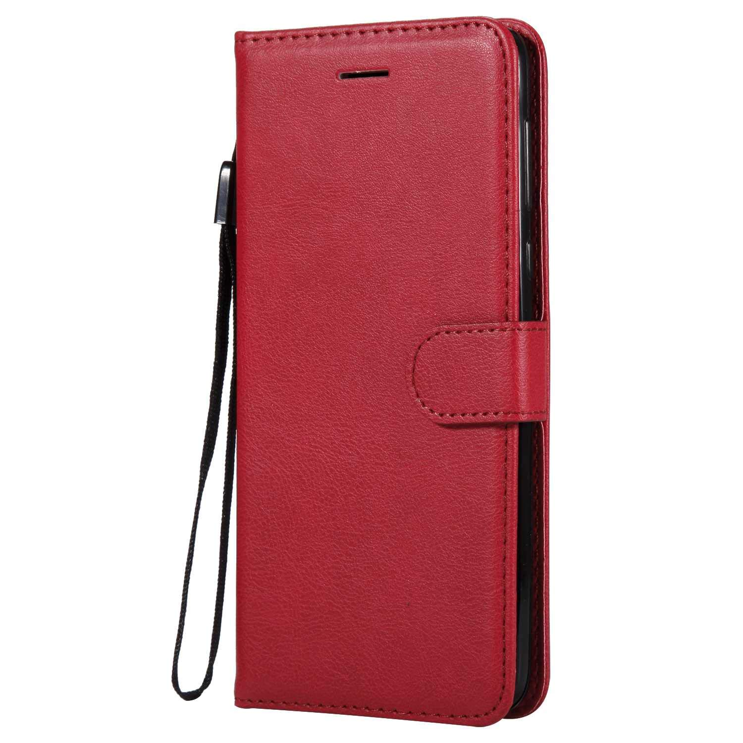 Moto G6 Plus 2018 Wallet Case, UNEXTATI Leather Flip Case with Magnetic Closure and Card Holders, Anti-Shock Bumper Cover for Moto G6 Plus 2018 (Red #3)