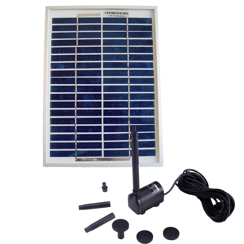 Pompe solaire pour bassin 200L/h alimentée par panneau solaire 5W-6V Sellande