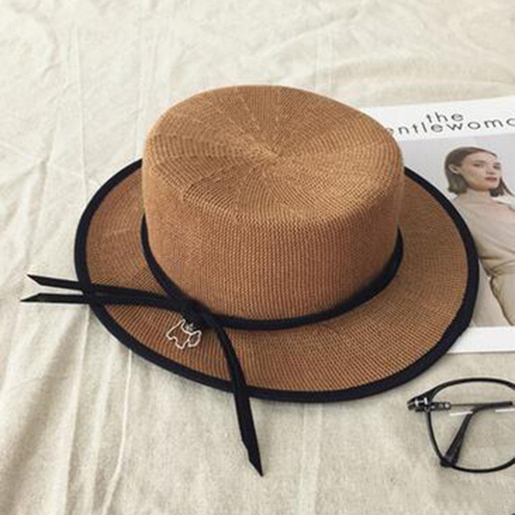 Mujer temperamento Colgante Otoño e invierno sombrero para el sol Lino Respirable Sombrero