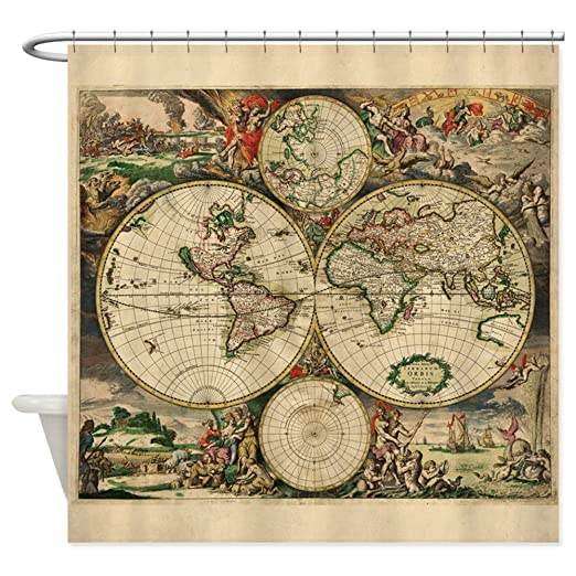 Amazon cafepress antique map shower curtain decorative amazon cafepress antique map shower curtain decorative fabric shower curtain home kitchen gumiabroncs Image collections