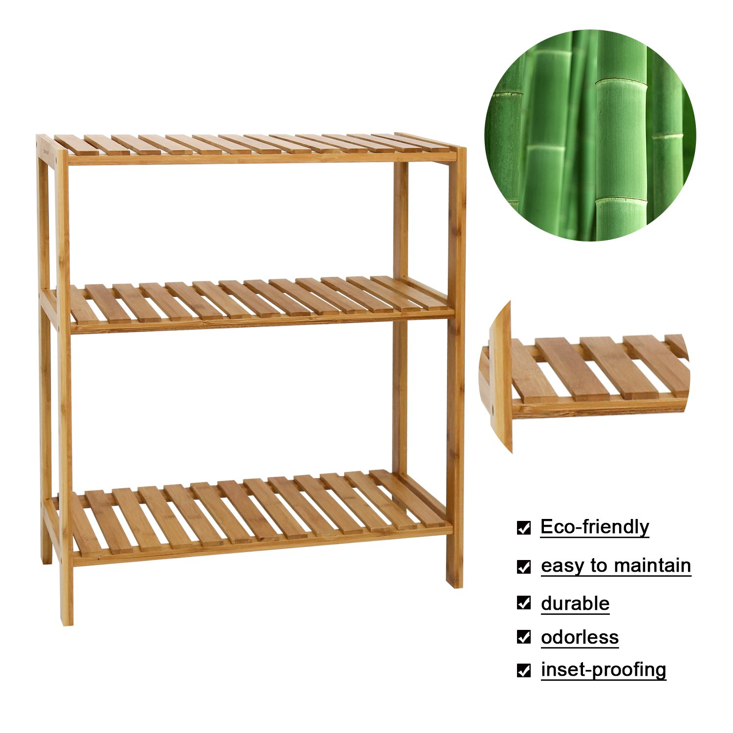 Kinbor Bamboo Rack Multifunctional Bathroom Kitchen Living Room Holder Plant Flower Stand Utility Storage Shelf (3-Tier) by Kinbor