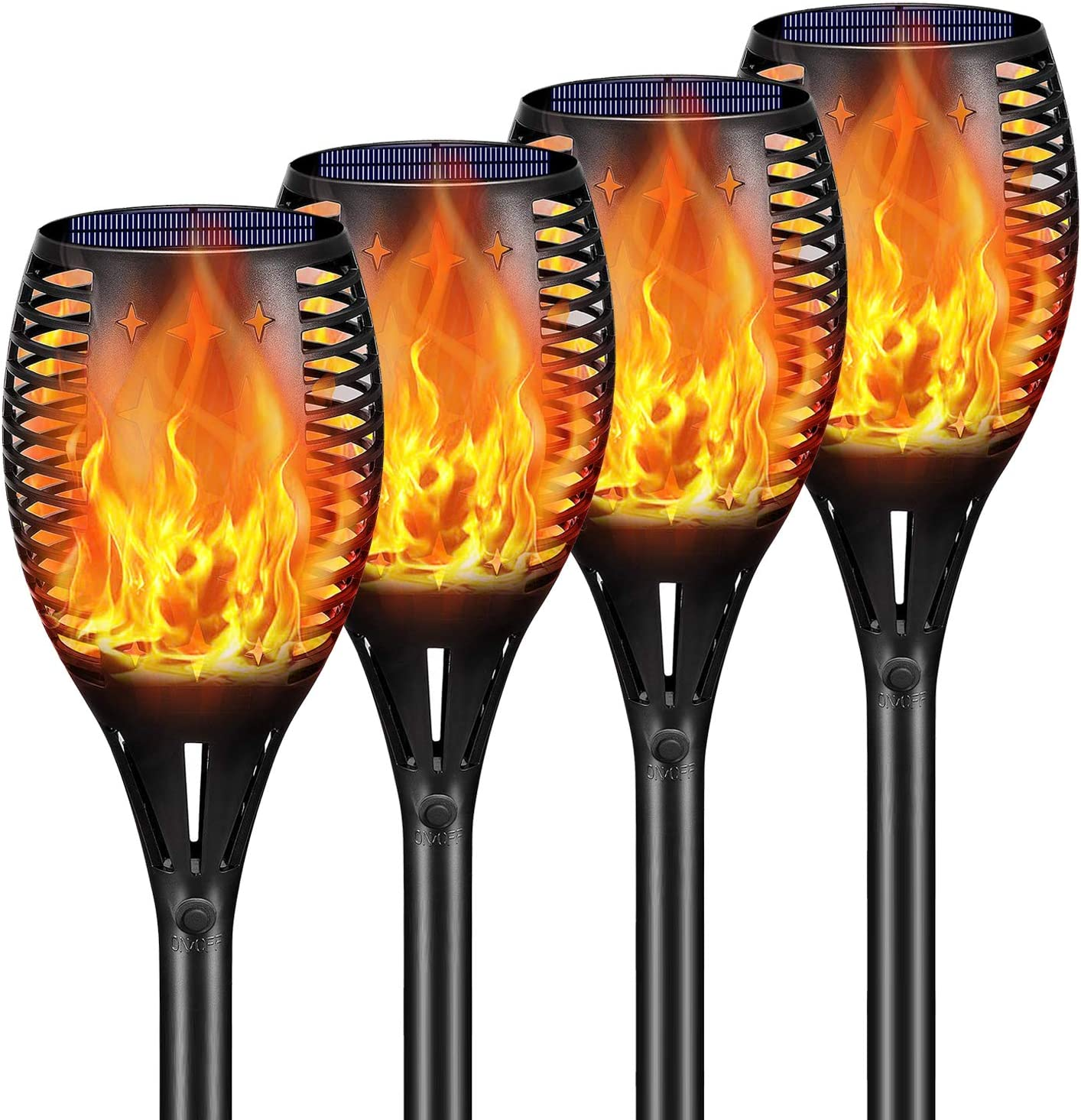 """Ambaret Solar Torch Lights,LED Landscape Lighting 43"""" Flickering Flames Solar Lights Upgraded,Waterproof Solar Flame Light Dusk to Dawn Auto On/Off Security Path Light for Yard Patio Driveway,4 Pack"""