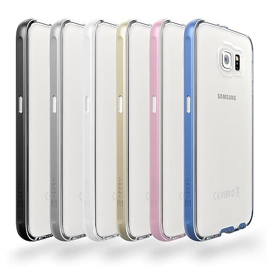 224 opinioni per Custodia Galaxy S6- Azorm Hybrid Edition Blu- Effetti Metallici, Trasparente,