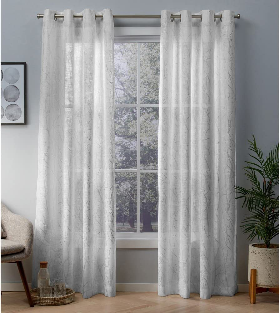 Exclusive Home Curtains Woodland Printed Metallic Branch Sheer Textured Linen Window Curtain Panel Pair with Grommet Top, 54x84, Winter Silver, 2 Piece