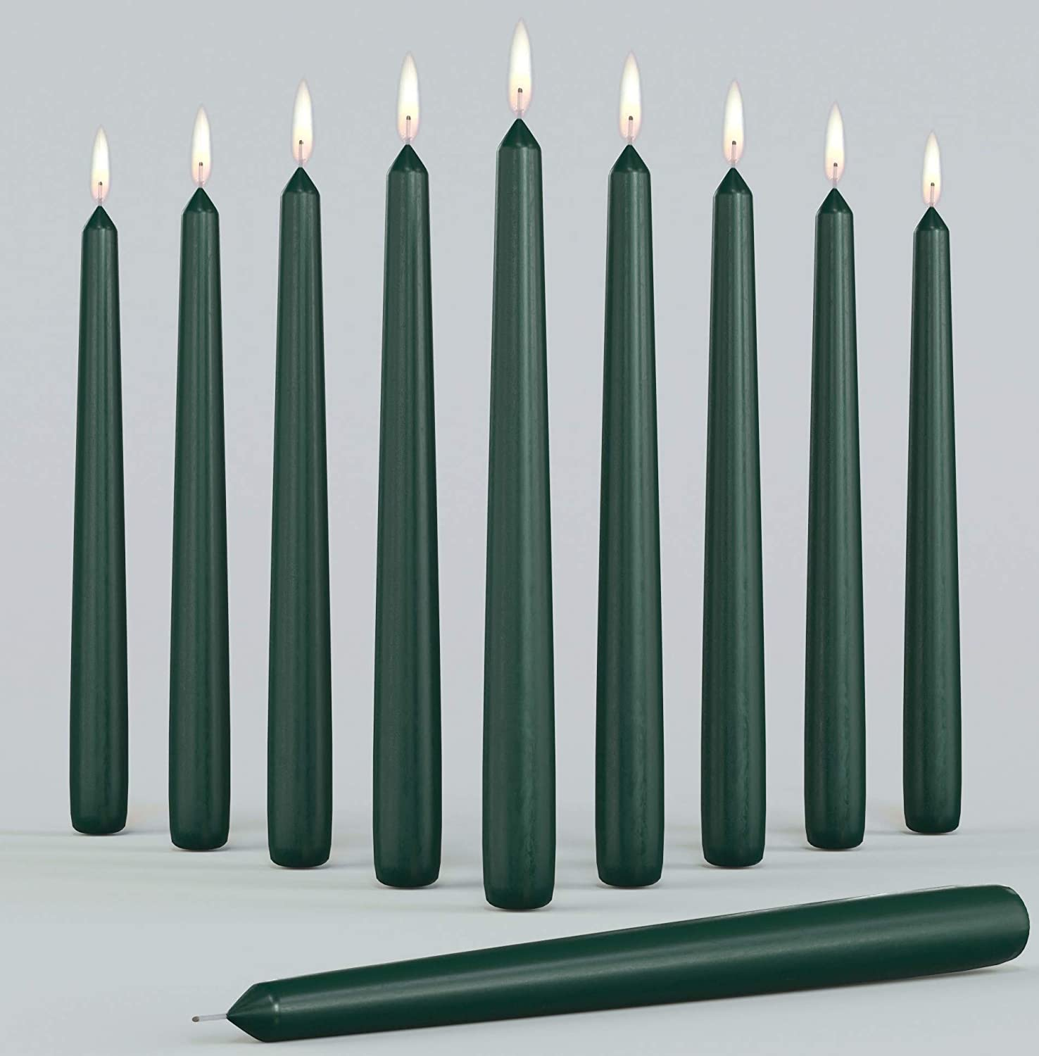 """Set of 10 Dark Green Dripless Taper Candles 10"""" Inch Unscented Tall Dinner Candles for Wedding Restaurant Home Decoration Spa Church Smokeless with Cotton Wicks"""