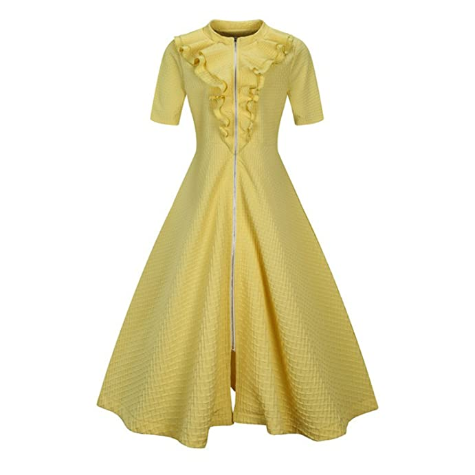 NEW Elegant Tunic Vestido Vintage 50s Rockabilly Solid Swing Summer female Dresses L-6XL Women Robe Pin Up Ruffles Dress Retro at Amazon Womens Clothing ...