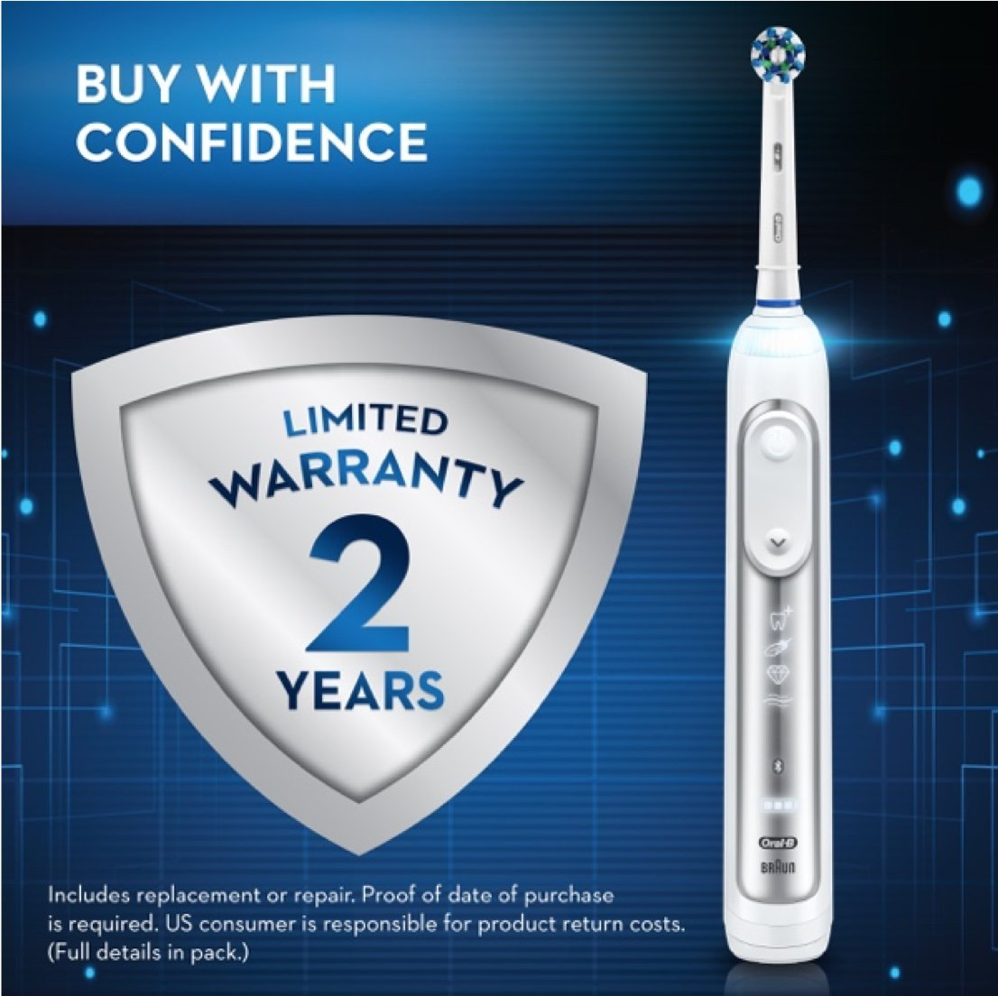 Oral-B Pro 7500 SmartSeries Electric Rechargeable Toothbrush with 3 Replacement Brush heads, Bluetooth Technology and Travel Case, Powered by Braun by Oral B (Image #12)