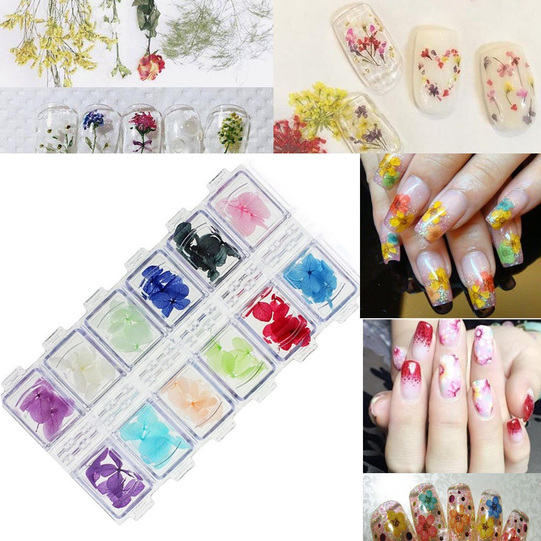 Lookathot 3D Design Nail Art Different Metallic Studs Mixed Colors Rhinestones Dried Flowers Loose Glitter Powder Manicure Nail Art Stickers Decals DIY Decoration Tools NS04