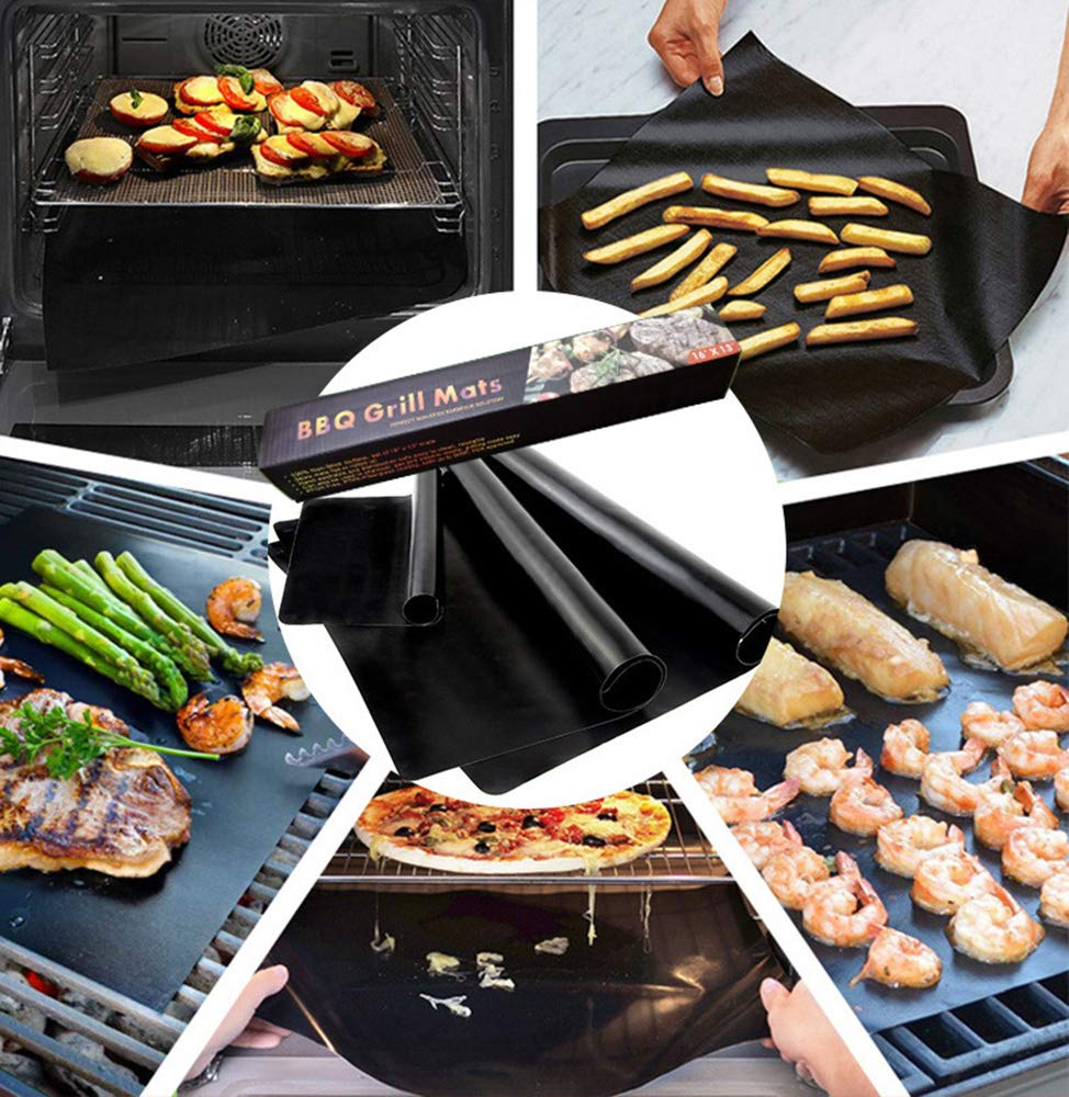 BBQ Outdoor Mat Grilling and Baking Mats Heat Resistance Non-Adhesive Easy to Clean Durability 5 Pcs UFLYAY Non-Stick BBQ Grill Mat FDA Approved