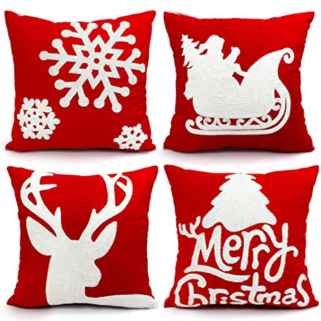 christmas pillows covers 18 x 18 christmas dcor embroidery throw pillow cases christmas decorative cotton pillow - Christmas Pillows