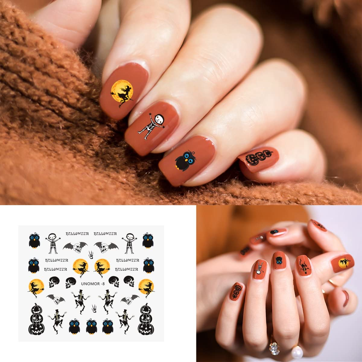 Halloween Nails Decals Stickers, 30 Sheets Multi-Color Mixed Styles Ghost Spiders Pumpkin Witches Nail Art Decals
