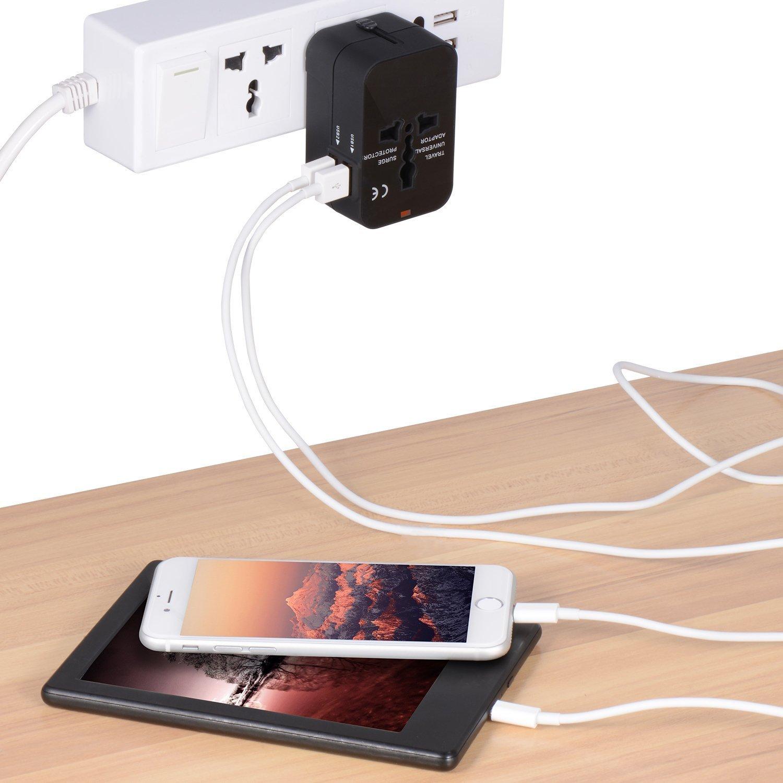 Nero SURWELL Adattatore da Viaggio Universale con 2 Porte Caricabatterie USB Adatto per pi/ù di 180 paesi Adattatore da Viaggio