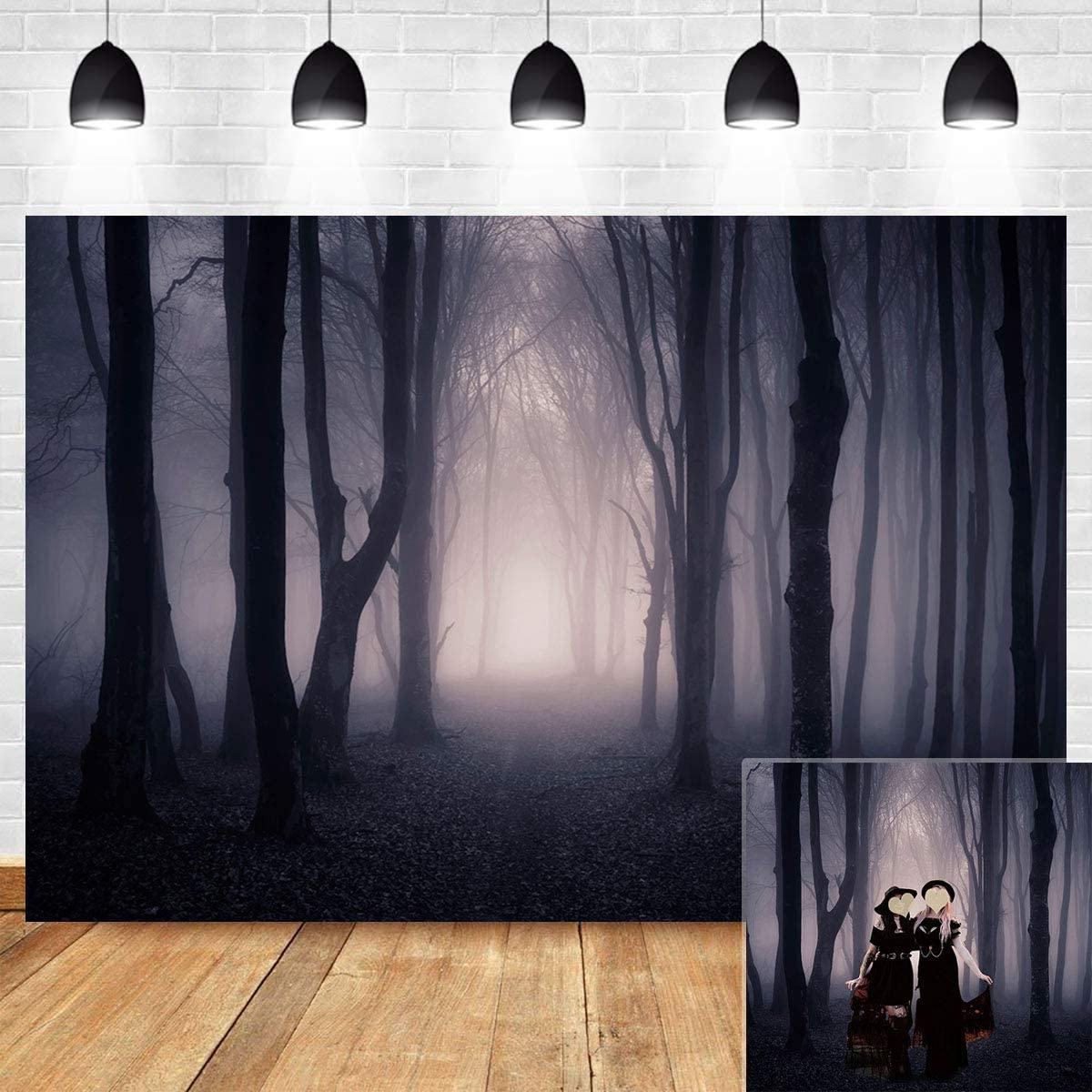 15x10ft Forest Train Backdrop Halloween Themed Party Photography Banner Photo Background Props LHFU554