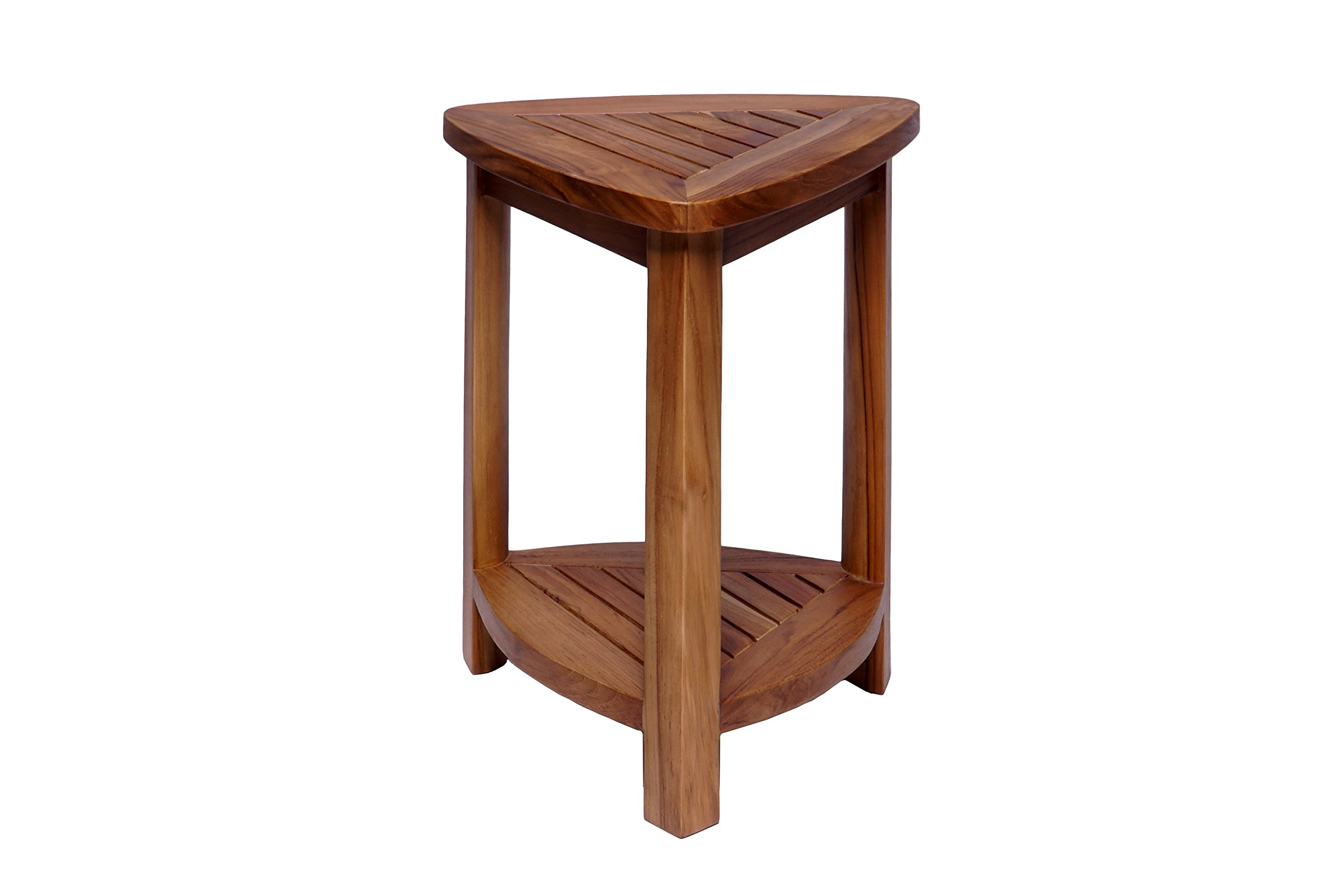 Teak Boutique Teak Wood Corner Table with Shelf, 100% Teak Wood Triangle Table, Natural Water Resistant Wood for Indoor or Outdoor Use, 2 Tier Shelf for Shower,