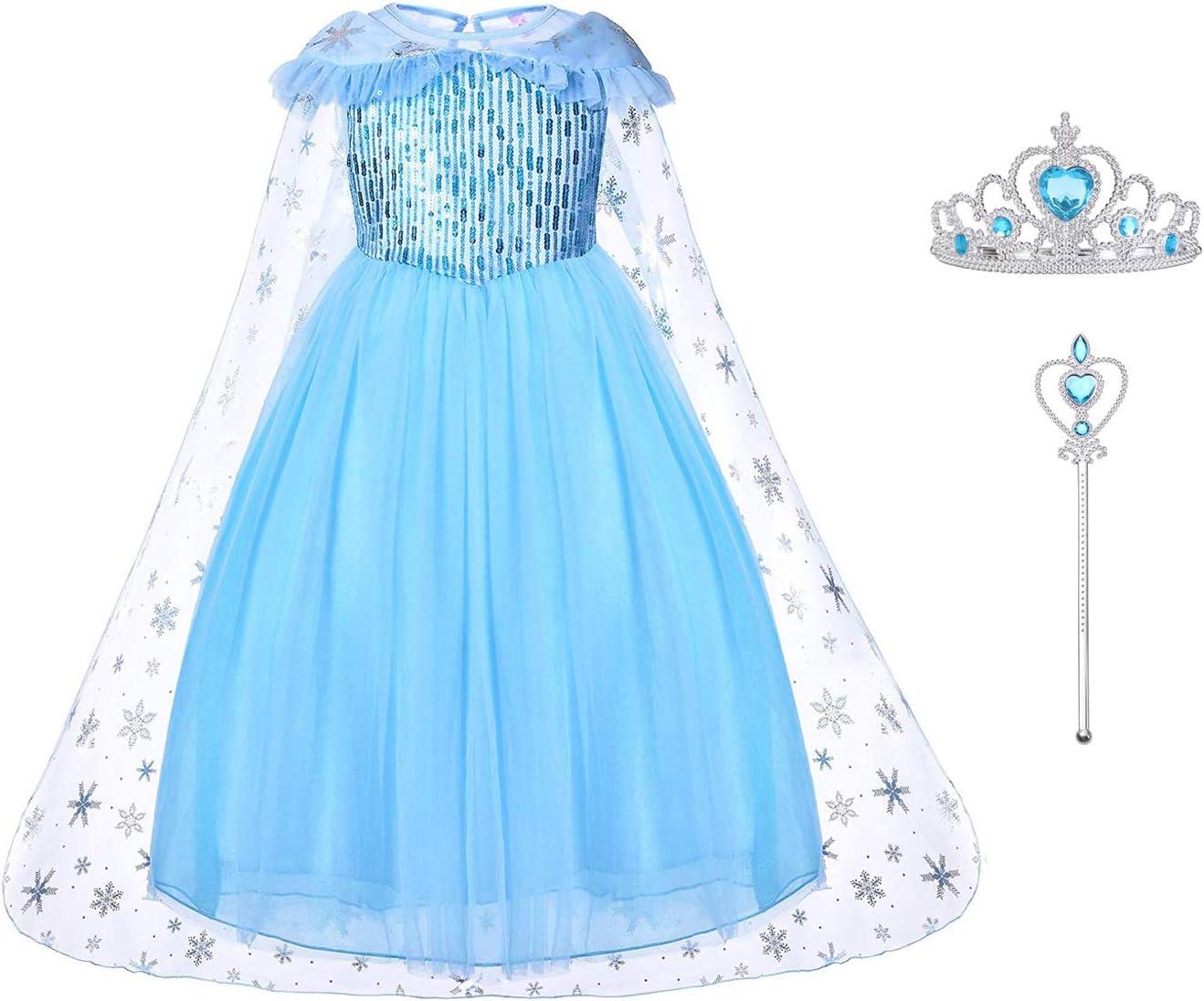 Elsa Costume di Cosplay Party Halloween Costume Abito delle Ragazze di Natale Vestito Fantasia Set da Principessa Elsa Corona Bacchetta URAQT Elsa Costume Elsa Costumi Vestito