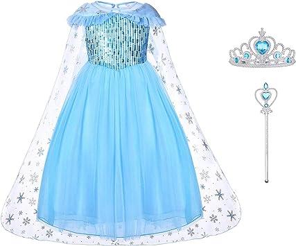 URAQT Disfraz Elsa Frozen, Disfraz Frozen Niña, Vestido Princesa ...