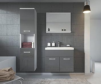 Badezimmer Badmöbel Montreal 60 cm Waschbecken Hochglanz Grau ...