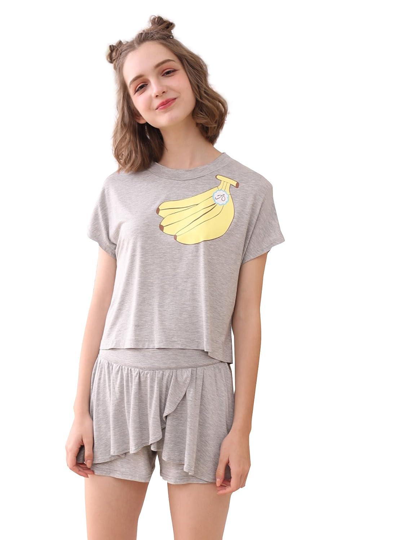 SheIn Women s Summer Cartoon Banana Print Tee   Shorts Pajamas Set at  Amazon Women s Clothing store  10264141f