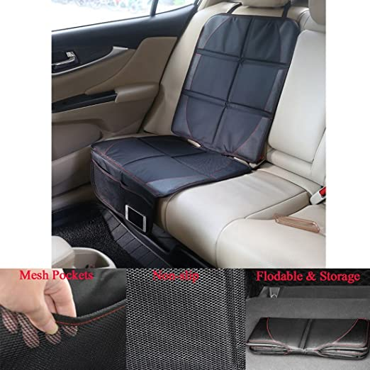 2 Pcs Car Seat Protector Black Waterproof Universal Foldable Car Seat Cover Protector Dog Mat with Thickest Padding for Child /& Baby Cars Seats