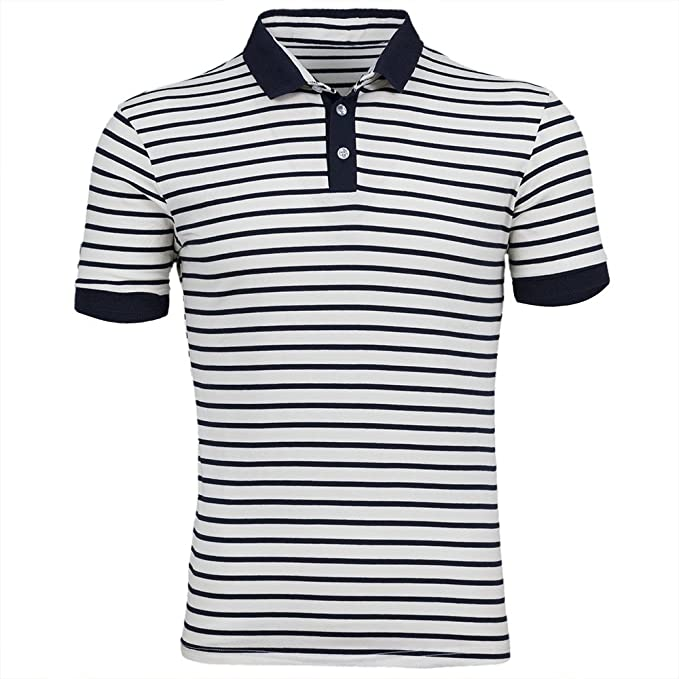 50s Costumes | 50s Halloween Costumes Mens classic striped polo short sleeve t-shirts $12.00 AT vintagedancer.com